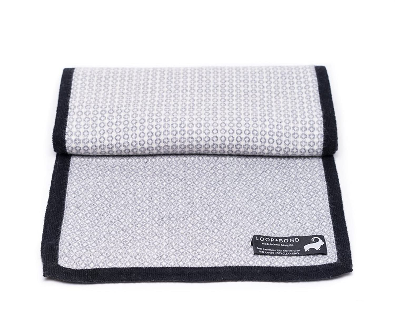 Taylor Scarf - Grey + White Cashmere Scarf