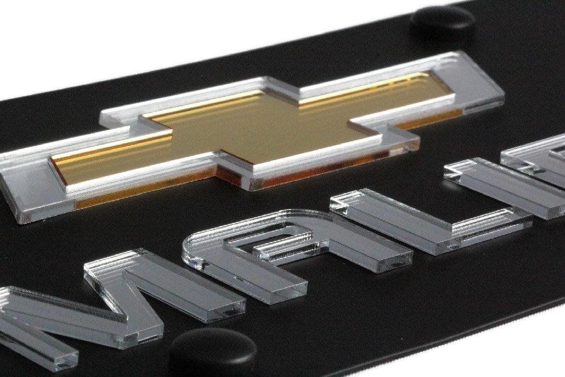 Eurosport Daytona Stainless Steel Black New Malibu Mirror Gold License Plate Frame 3D Novelty Tag