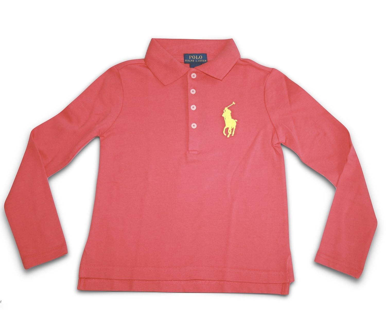 Amazon Com Polo Ralph Lauren Child Girls L S Big Logo Polo Shirt
