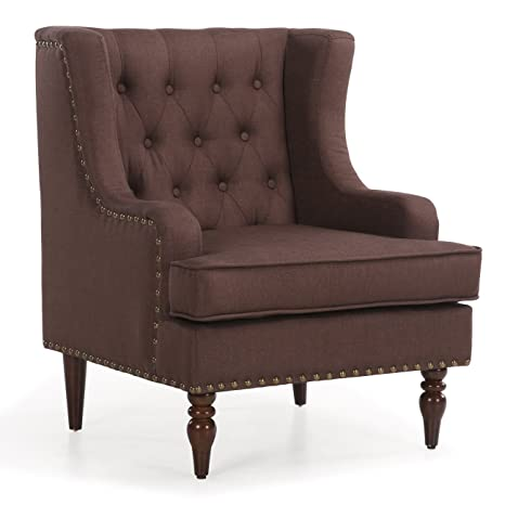 Excellent Amazon Com Ghp Brown Upholstered Linen Button Tufted Accent Ibusinesslaw Wood Chair Design Ideas Ibusinesslaworg