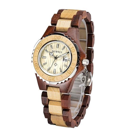Bewell w100bl Mujer Mode estilo Analog Quartz Business hypoaller genic Relojes Madera Reloj Madera Reloj de