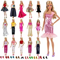Barwa Lot 15 Items 5 Sets Fashion Casual Wear Clothes Outfit Handmade Party Dress with 10 Pair Shoes for Barbie Doll Birthday Xmas GIF