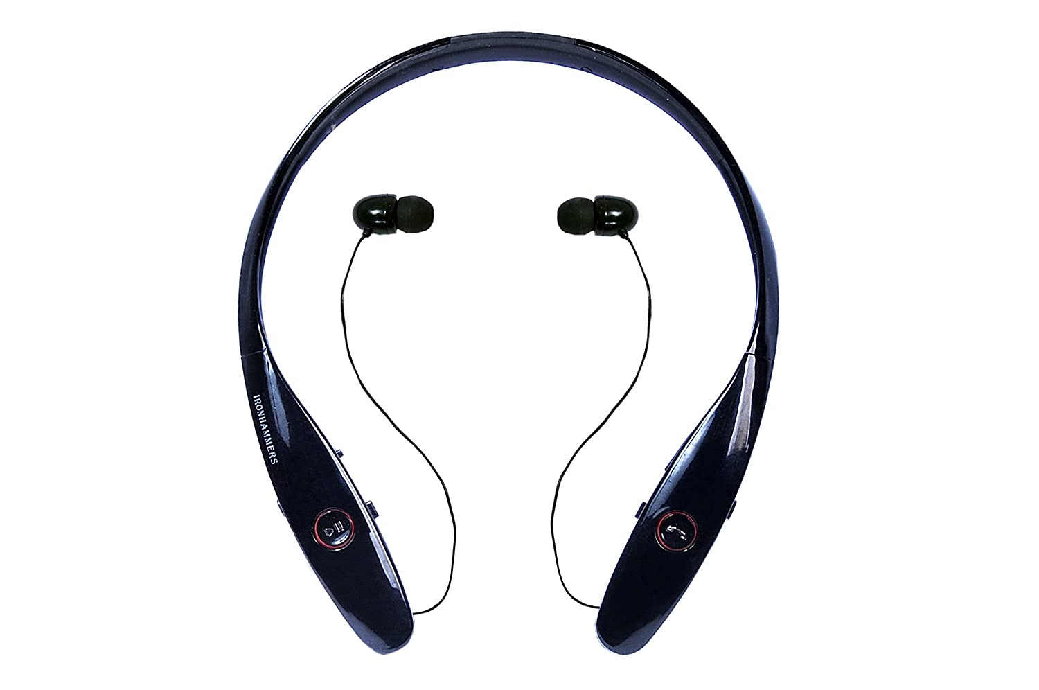 b93736f74f7 Noise Cancelling Sweatproof Neckband Bluetooth Headphones with Retractable Earbuds  Best Headphones with Microphone IRONHAMMERS 900, Running/Sports Wireless ...