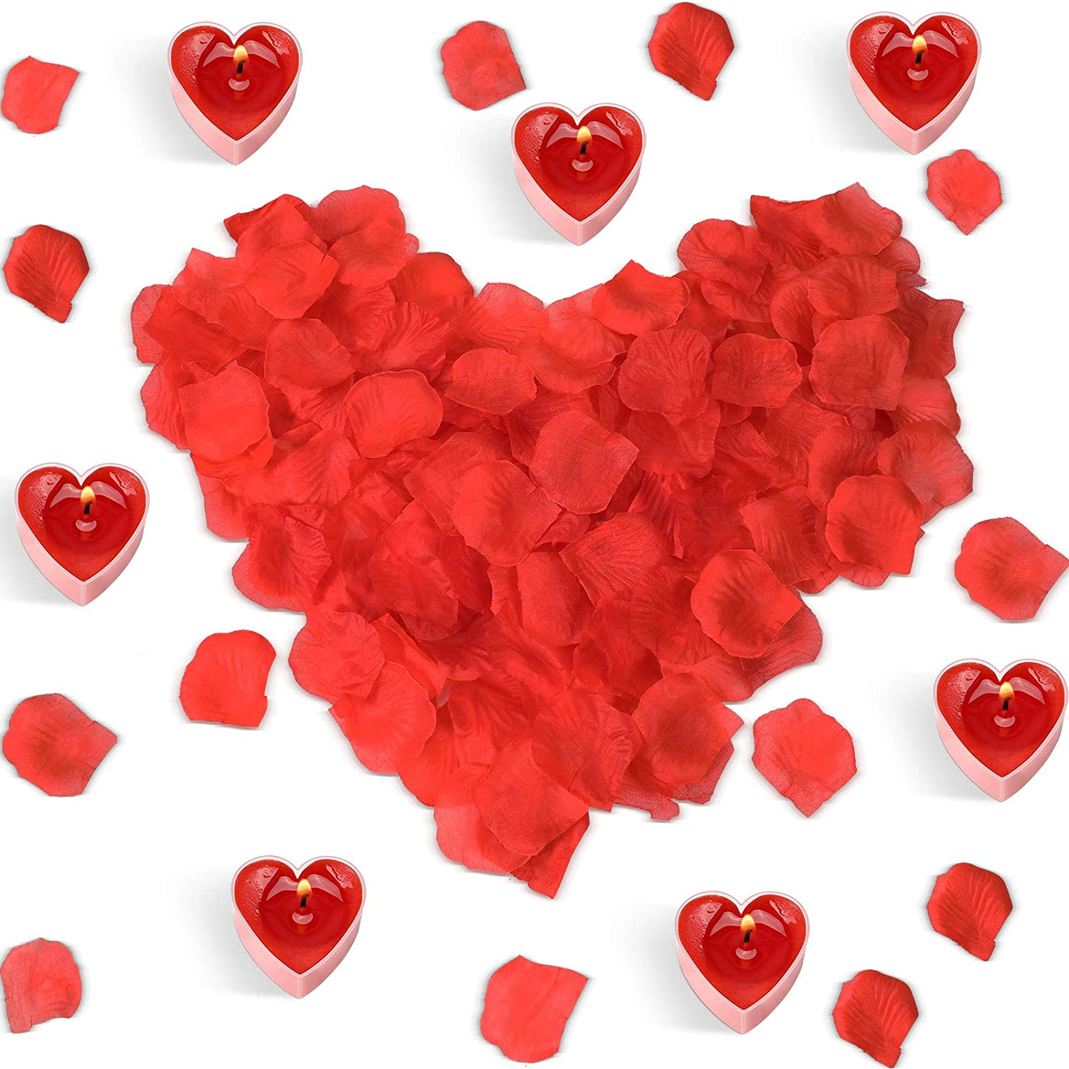 16 Pieces Heart Shape Candles Romantic Love Heart Candle with 300 Pieces Rose Petals, Heart Tealight Candles and Artificial Rose Scatter Petal for Valentine's Day Wedding Table Aisle Centerpiece Decor