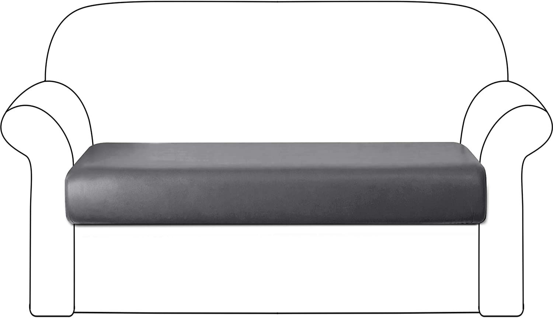 DyFun PU Couch Sofa Slipcover Cushion Cover Stretch Waterproof Cushion Slipcover Furniture Protector (Sofa, Light Grey)