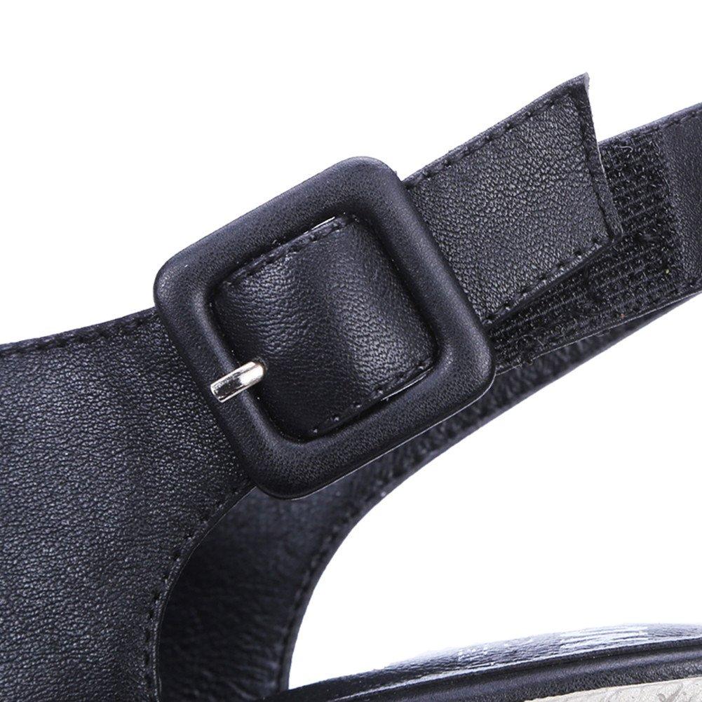Nine Seven Women's Open Peep Toe Wedges Sandles - Handmade Buckle Sling Back Comfort Fashion Shoes B07DJ6KXNC 5 B(M) US|Black Leather