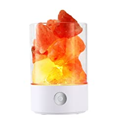 Techway Himalayan Crystal Salt Lamp,Natural Hymalain Colorful Salt Rock Lamps USB Night Light with Touch Dimmer Switch Color Changing for Party Table Decorations (White)