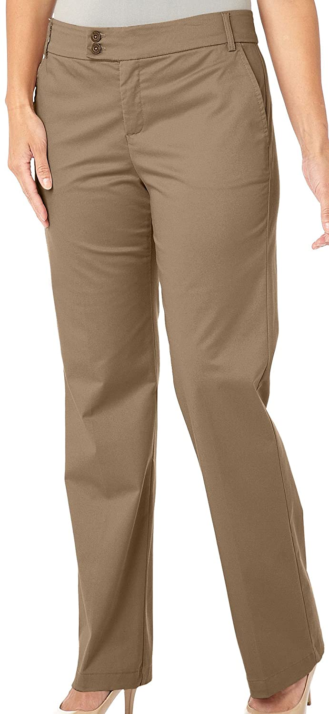 Gloria Vanderbilt Women Plus Trouser Pants Tan Khaki Comfort Waist Smooth 12