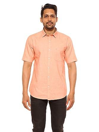 527840b040bb SUMMER LINE Cotton Regular Fit Men s Casual Shirts Half Sleeves Orange M