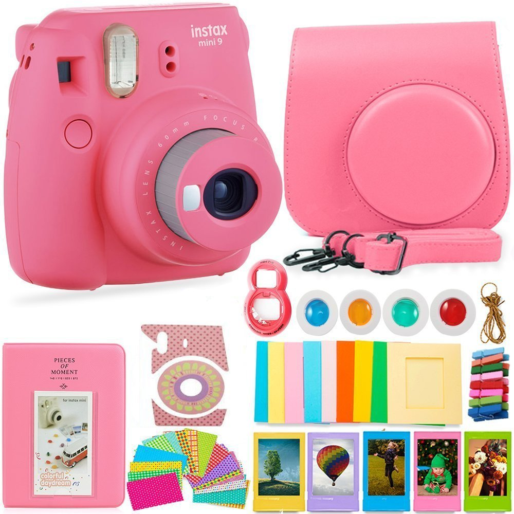 FujiFilm Instax Mini 9 Camera and Accessories Bundle - Instant Camera, Carrying Case, Color Filters, Photo Album, Stickers, Selfie Lens + MORE (Flamingo Pink) by Deals Number One