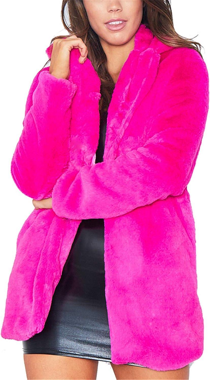 Allonly Womens Fashion Faux Fur Cashmere Solid Color Warm Winter Outwear Coat Luxurious Elegant Coat