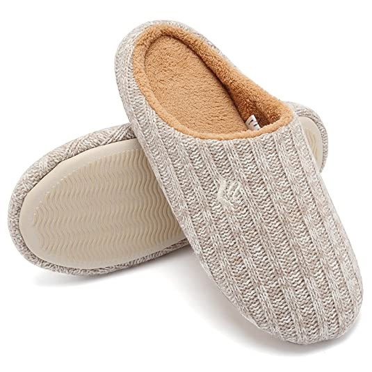 CIOR Fantiny Women's House Slippers Indoor Cashmere Cotton Knitted Autumn Winter Anti-slip-U1MTW015-Beige-40-41