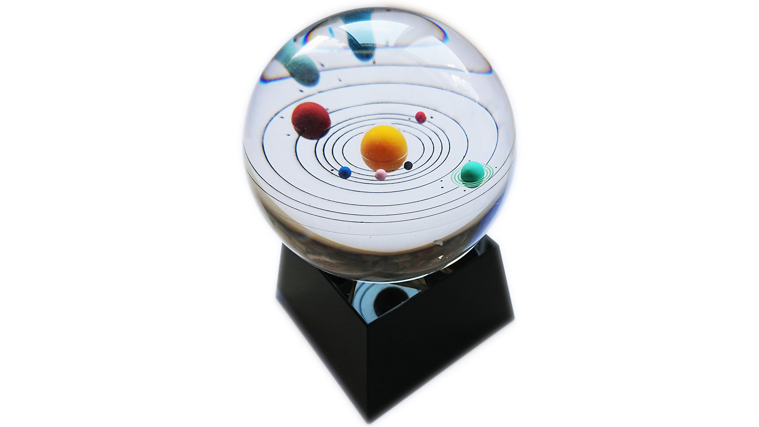 Actopus 80mm/3 inches Mini Solar System Clear Ball Glass Sphere Globe with Black Display Stand