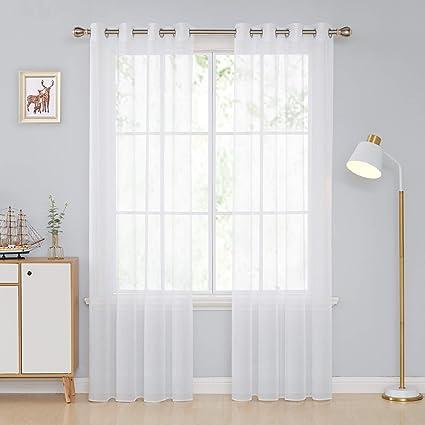 Deconovo Tende Trasparenti In Voile Camera Da Letto Moderne Per Casa Moderne 140x245cm Bianco 2 Pannelli