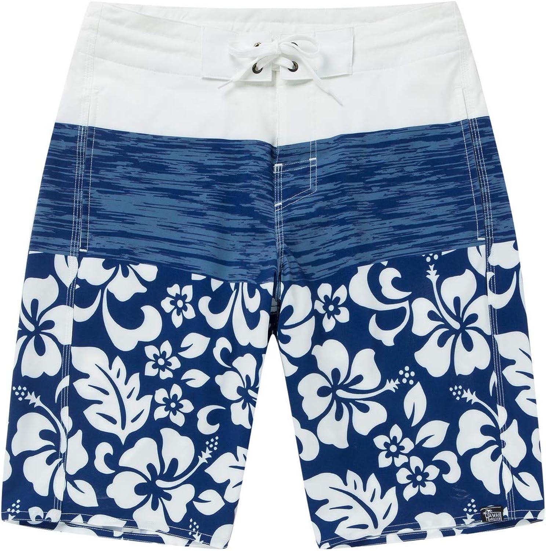 Men's Spandex Hawaiian Beach Board Shorts with Zipped Pocket in Classic Hibiscus Print