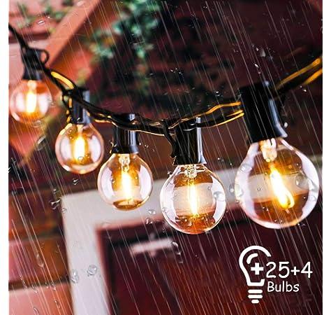 Guirnaldas Luces Exterior, Litogo Cadena de Luces 9,5m G40 25+2 ...