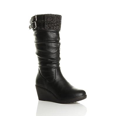 3333990edd95 Ajvani Women s Mid Wedge Heel Contrast Knitted Cuff Buckle Calf Boots Size 5  36