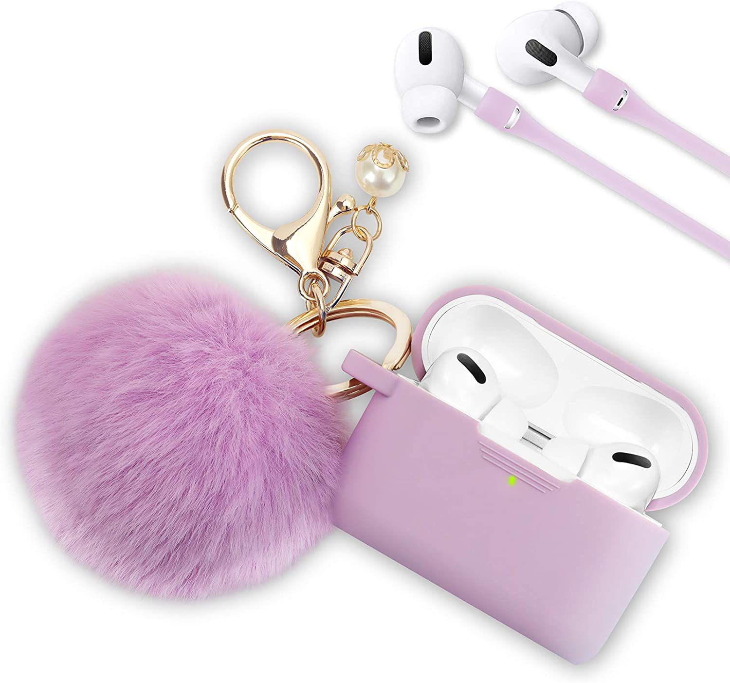 Case for Airpods Pro, Filoto Airpod Pro Case Cover for Apple Air Pods Pro Wireless Charging Case, Cute Air Pods 3 Silicone Protective Accessories Keychain/Pompom/Strap,Purple
