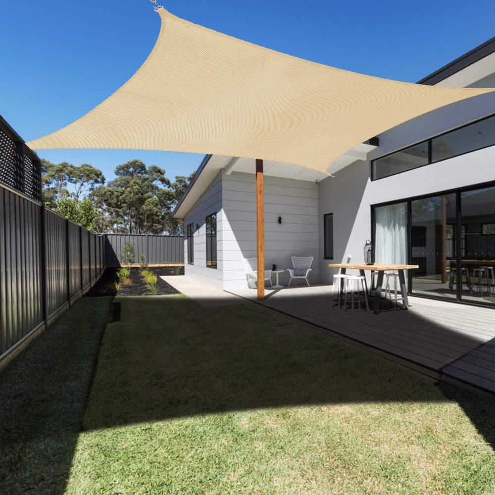 Ankuka Waterproof 10 x 13 Sun Shade Sail Canopy Rectangle UV Block for Outdoor Patio and Garden, Yard Activities, Yellow