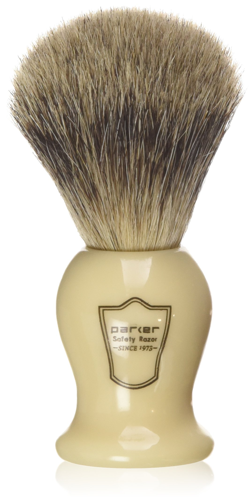 Parker Safety Razor 100% Pure Badger Bristle ''Classic'' Ivory Handle Shaving Brush -- Brush Stand Included