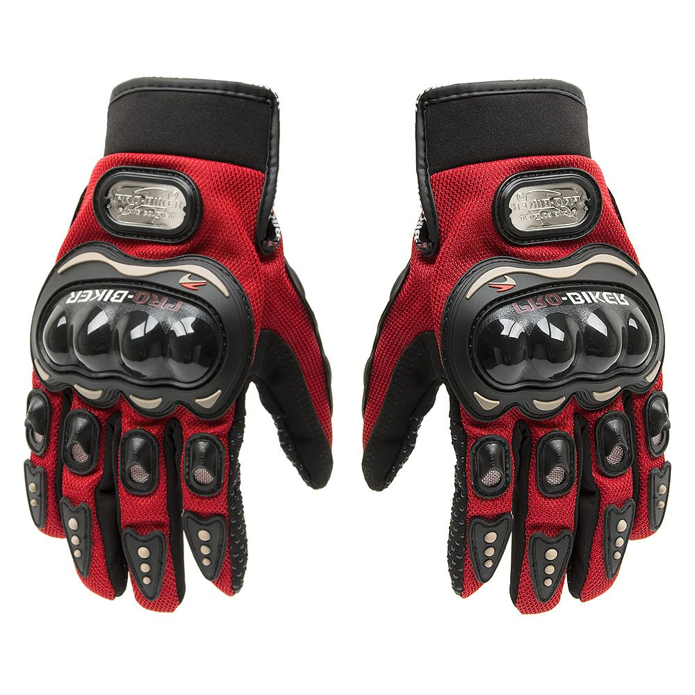 Tonsiki Carbon Fiber Motorcycle Motorbike Cycling Racing Full Finger Gloves (Red, M)
