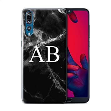 buy online 1cdf4 91274 Stuff4 Personalised Custom Marble Case for Huawei P20 Pro/Jade Black  Monogram Design/Initial/Name/Text DIY Cover