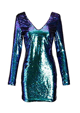 8b4d19ec323 Womens Long Sleeve Blue and Green Mermaid Colored Sequin Cocktail Dress –  Size Small