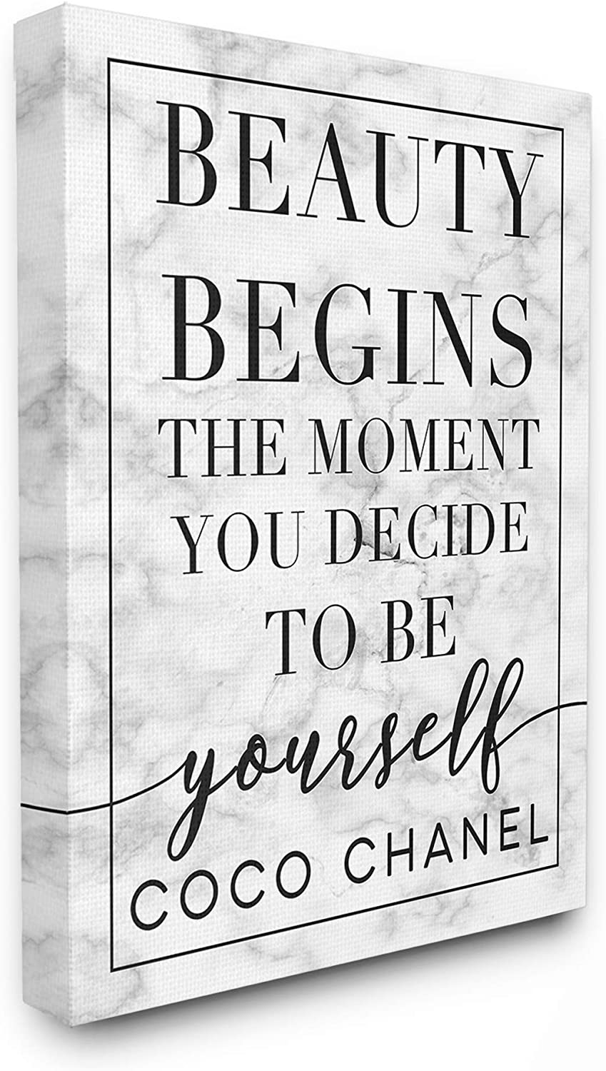 Stupell Industries Beauty Begins Once You Decide to Be Yourself White Marble Typography Canvas Wall Art, 16 x 20, Multi-Color