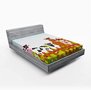 Lunarable Animal Fitted Sheet, Farm Creatures with Cow Horse Goat Pig and Chicken by The Fences Kids Cartoon, Soft Decorative Fabric Bedding All-Round Elastic Pocket, Queen Size, Pale Brown