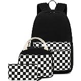 CAMTOP School Backpack Canvas Laptop Backpack Teens Bookbag Set Lunch Bag Pencil Case for Girls Boys(Checkboard Black)
