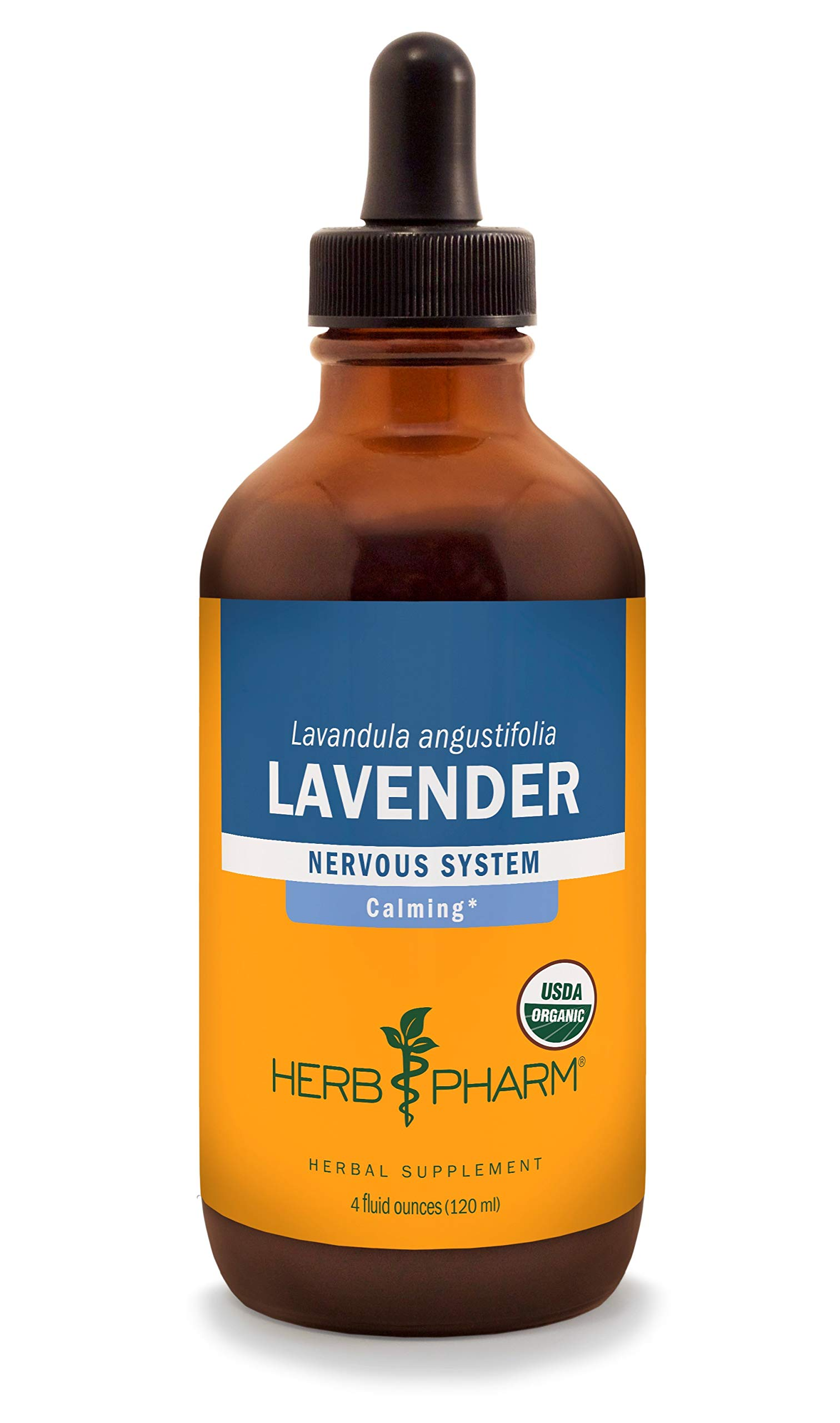 Herb Pharm Certified Organic Lavender Flower Liquid Extract for Calming Nervous System Support - 4 Ounce