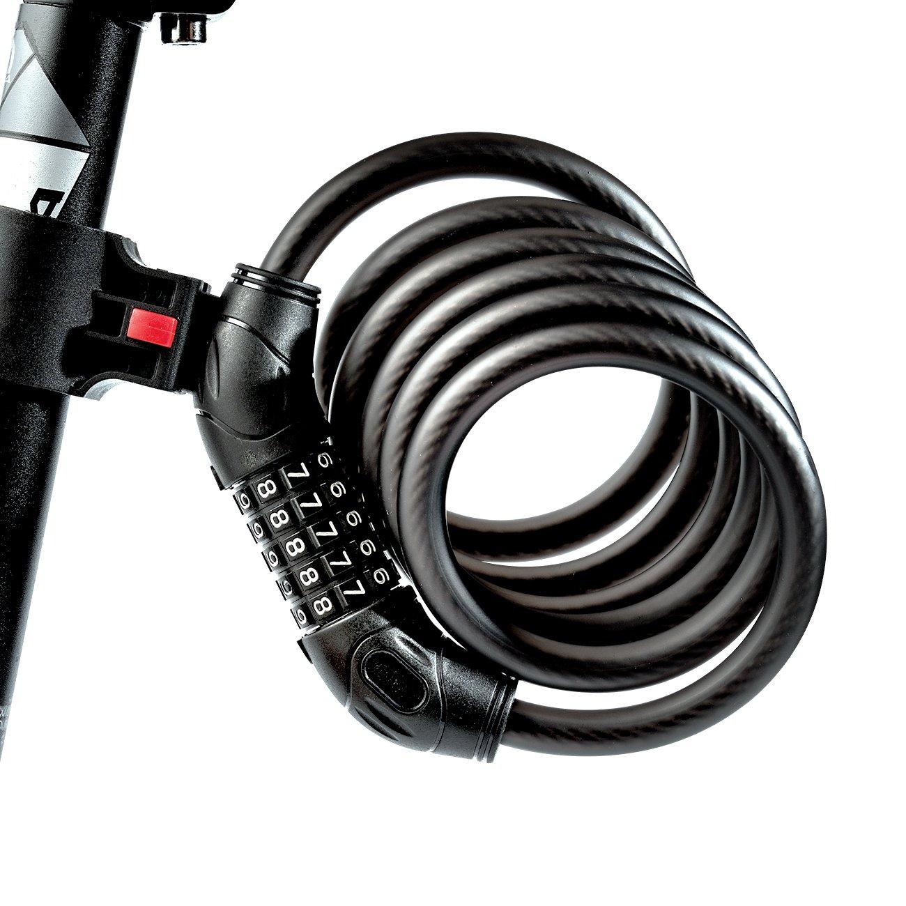 WHEEL UP バイクロックケーブル 5桁 リセット可能 組み合わせ コイルケーブル 盗難防止 ロック パスワードケーブル スチールワイヤロック 自転車 アウトドア 6フィート x 1/2インチ スチールケーブル 120.0 センチメートル  B075DXYTX4