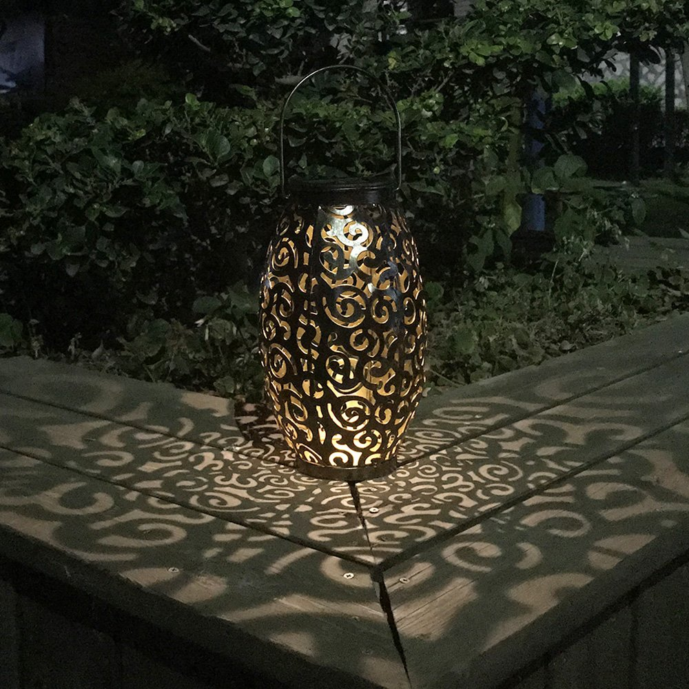 Tomshine Solar Lantern Outdoor Hanging Solar Light 8 Lumens Metal Warm White for Patio Garden Courtyard Pathway