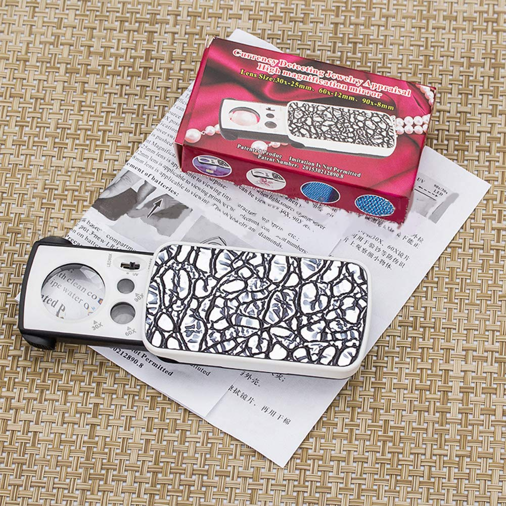 Meiyiu 30X 60X 90X Pockets Magnifying Magnifier Jeweler Eye Glass Loupe Loop with Led Light 8.5X4.5X2CM Black