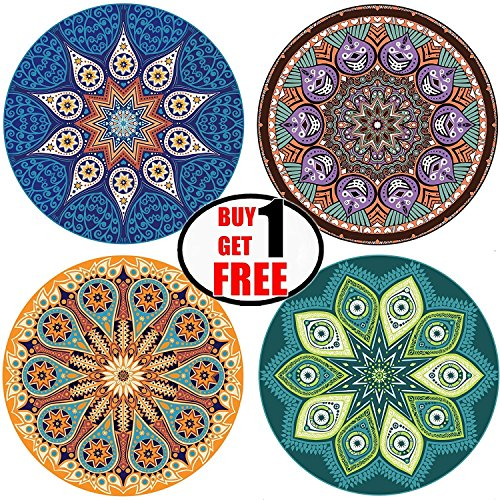 ENKORE Absorbent Ceramic Stone Coaster For Drinks - MANDALA, 4 Pack Large 4.3'' Size With Cork Back - TODAY ONLY, GET ANOTHER FREE SET SENT TO YOU AUTOMATICALLY, YOU GET TOTALLY 8 COASTERS by Enkore