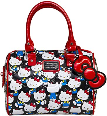 8f4872b1d858 ... Loungefly Hello Kitty Black Vintage Print Patent Embossed Mini City Bag  quality design 189a9 67bb6 ...