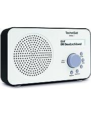 TechniSat VIOLA 2 Digital-Radio (klein, tragbar) mit Lautsprecher, UKW, DAB+, zweizeiligem LC-Display und Tastensteuerung, weiß/schwarz