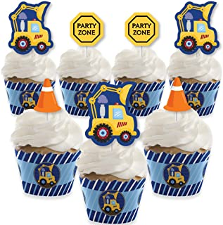 product image for Big Dot of Happiness Construction Truck - Cupcake Decoration - Baby Shower or Birthday Party Cupcake Wrappers and Treat Picks Kit - Set of 24