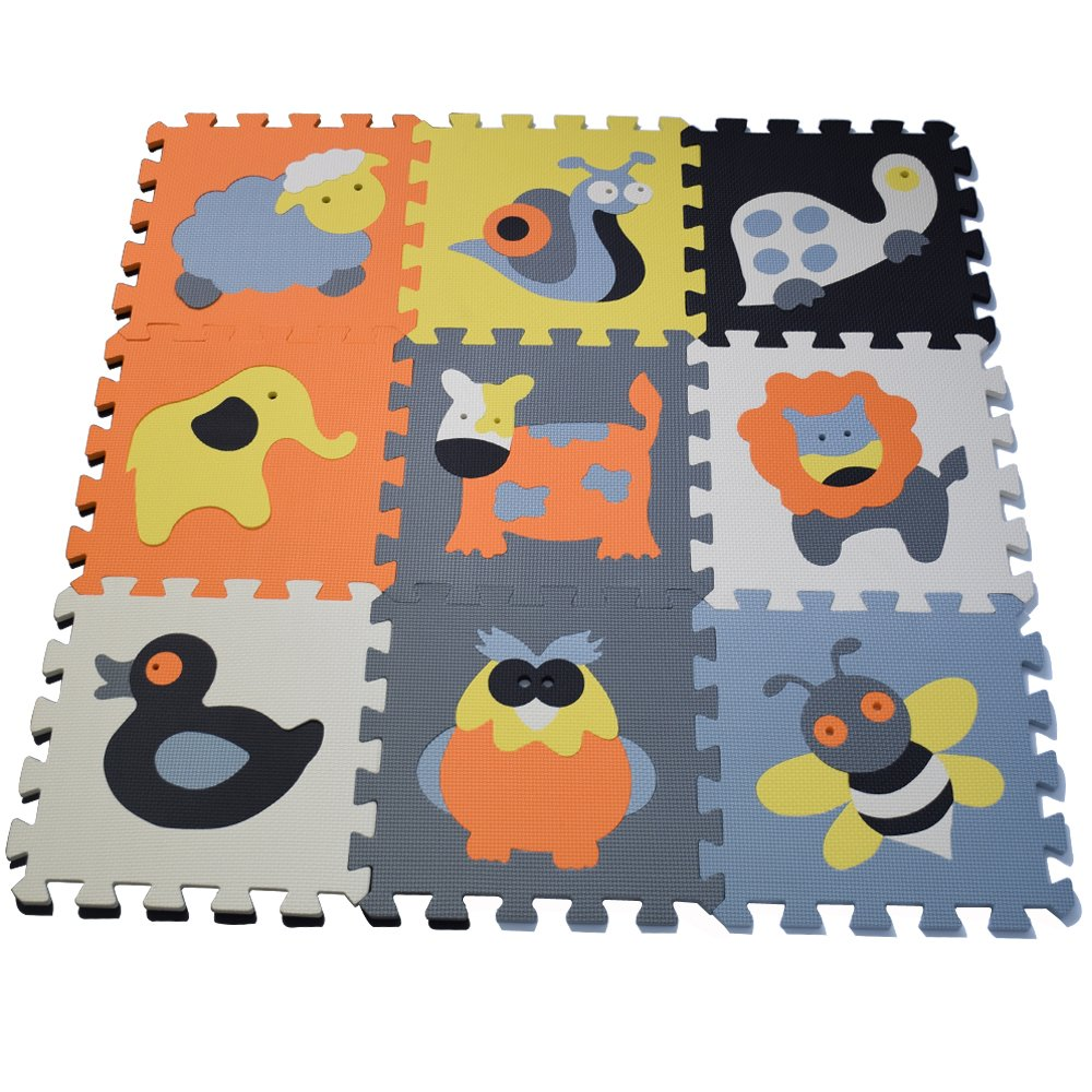 Seprovider Baby Playmats - Floor Mat w/ Removable Cartoon Animals - 9 Tiles Exercise Mat Solid Foam EVA Puzzle Play Mats (35.83'' x 35.83'' x 0.39'')