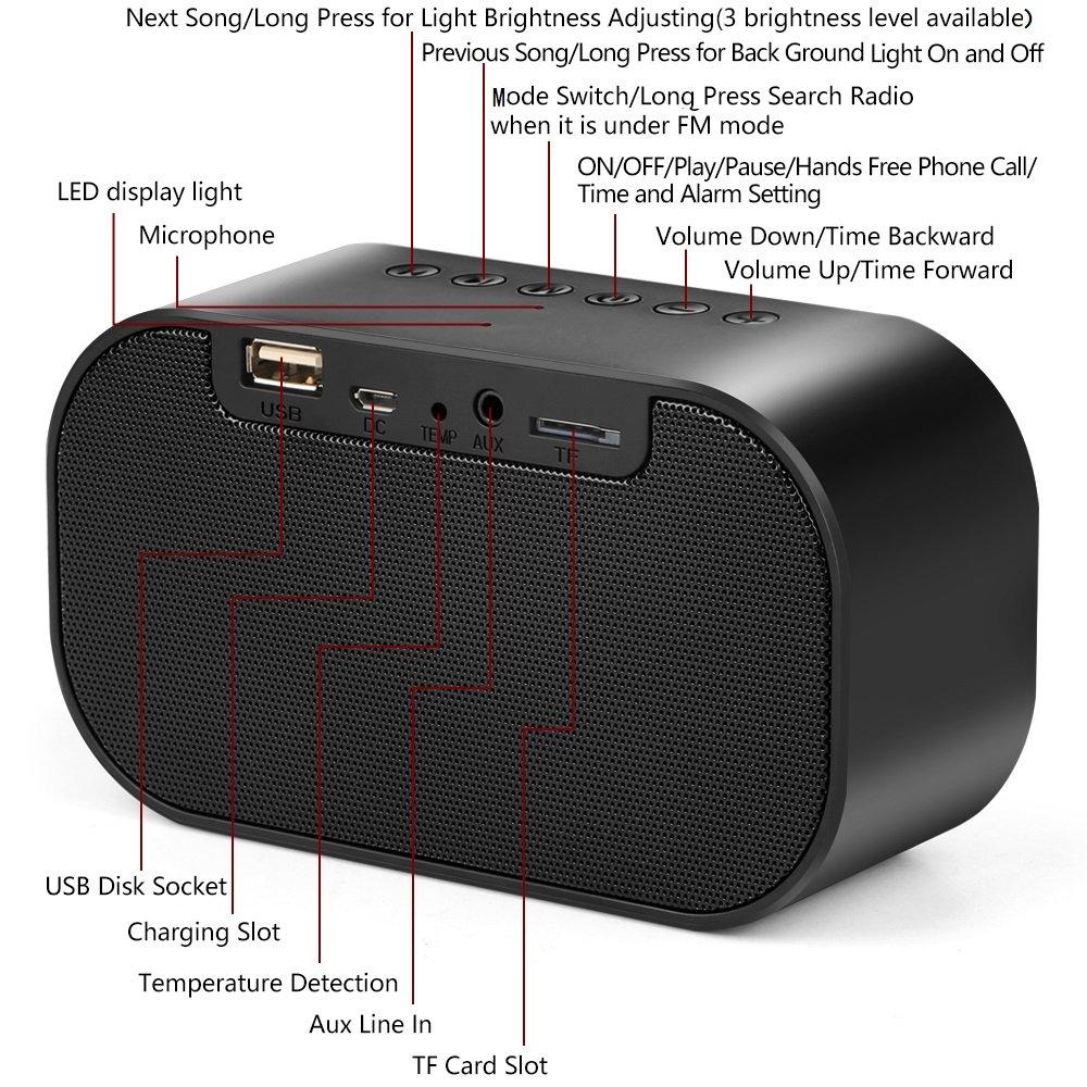 Alician Enceintes Mini Haut-Parleur Bluetooth st/ér/éo sans Fil Portable LCD FM Radio r/éveil Haut-Parleur ext/érieur Rose Gold