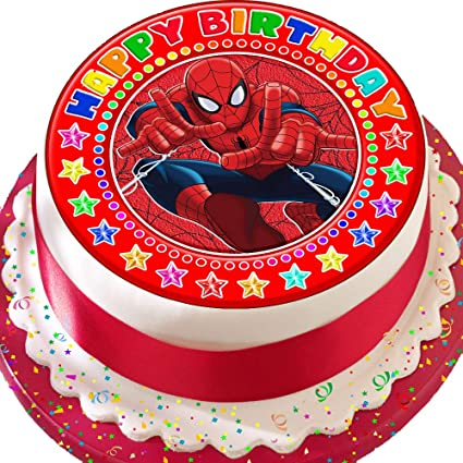 Surprising Spiderman Happy Birthday Red Birthday Precut Edible Icing Cake Birthday Cards Printable Benkemecafe Filternl