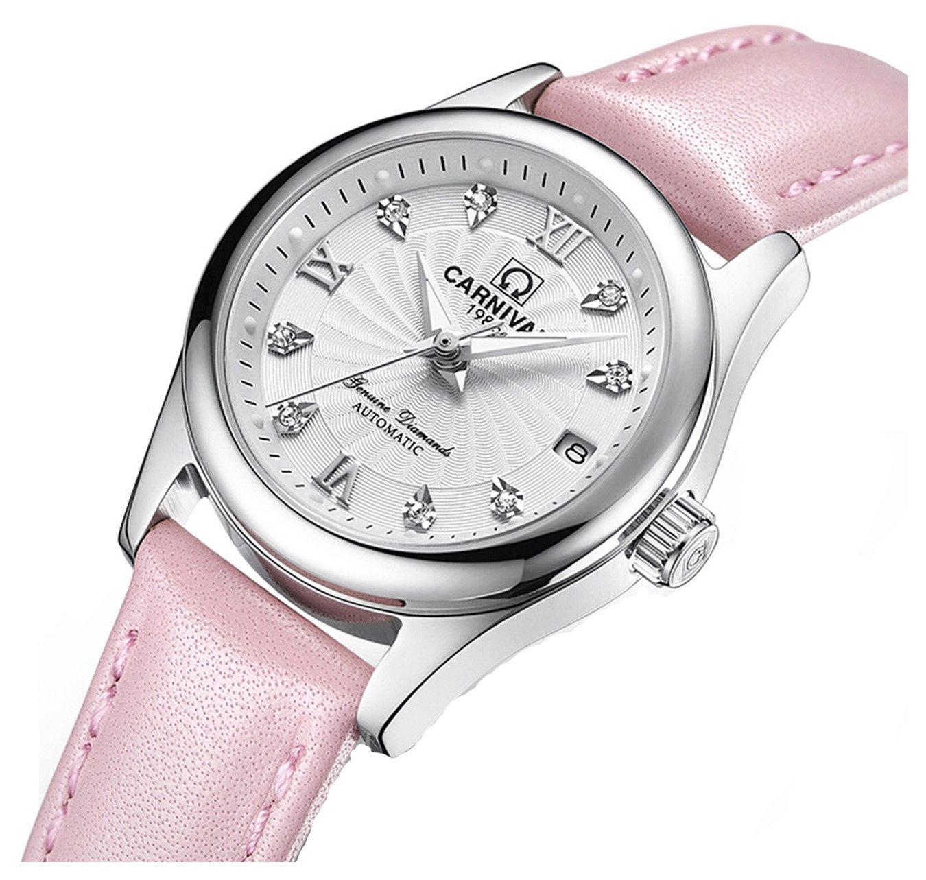 Luxury Women 's Automatic Mechanical Luminousカレンダーダイヤモンド本革防水Girls Watches ピンクシルバー B077CNYCC1 ピンクシルバー ピンクシルバー
