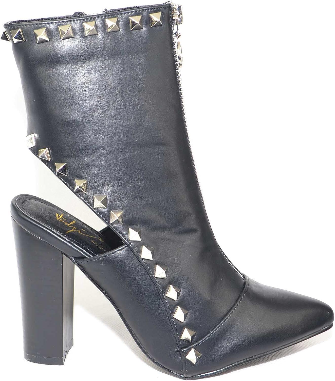 Scarpe Donna Tronchetto Nero con Borchie Oro Moda Glamour Tacco Comfort