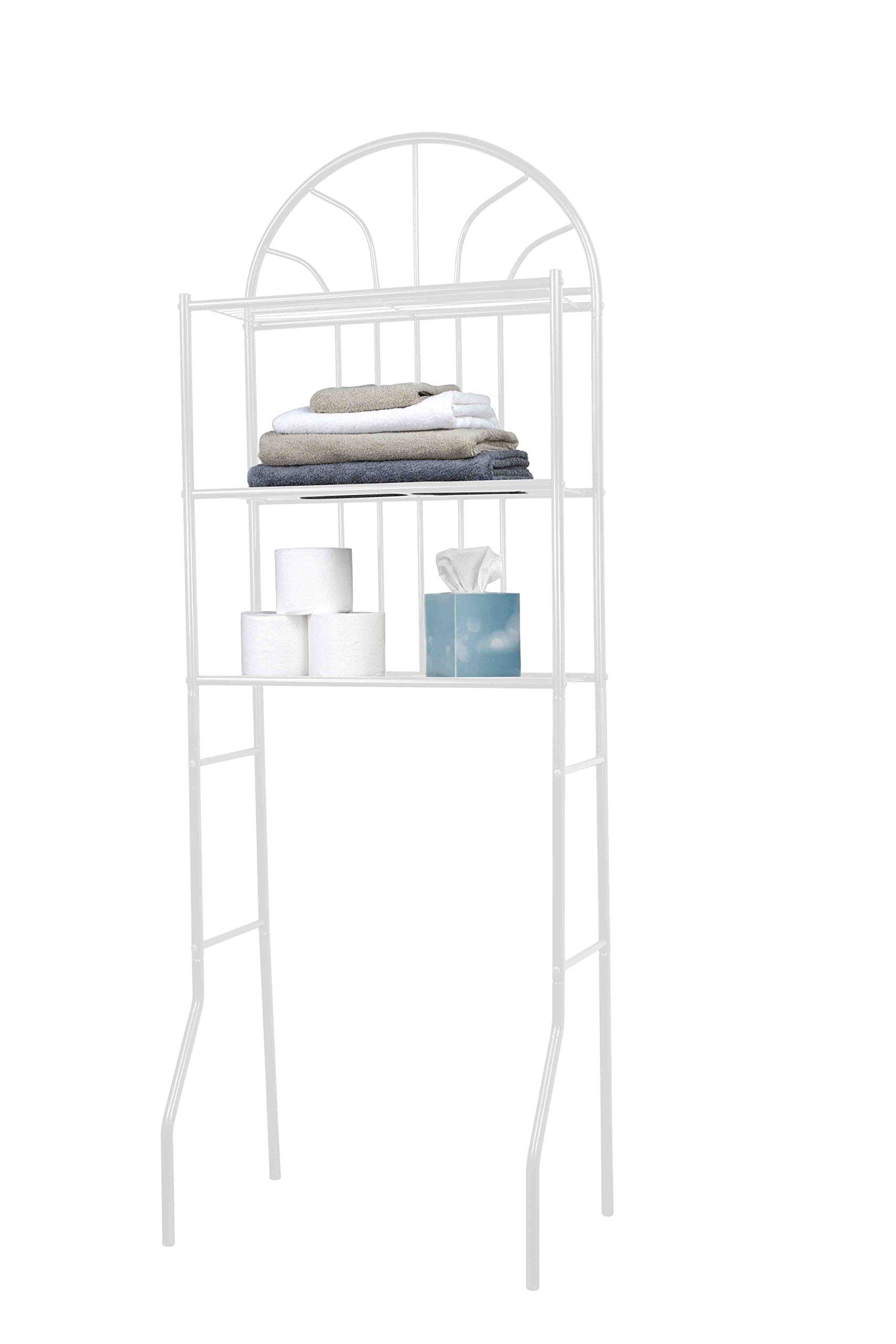 Home Basics 3 Over the Toilet Bathroom Space Saver Shelf, Bathroom Storage Shelf, White by Home Basics