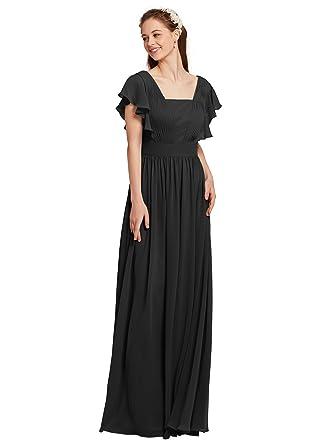 AWEI Petite Bridesmaid Dresses Long Prom Dresses Short Sleeves Formal Dresses, Black, US0