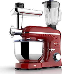 Nurxiovo 3 in 1 Stand Mixer,850W Tilt-Head 7QT Kitchen Food Mixer,6 Speed with Pulse Electric Mixer, Multifunction Standing Mixers, Meat Blender and Juice Extracter Red