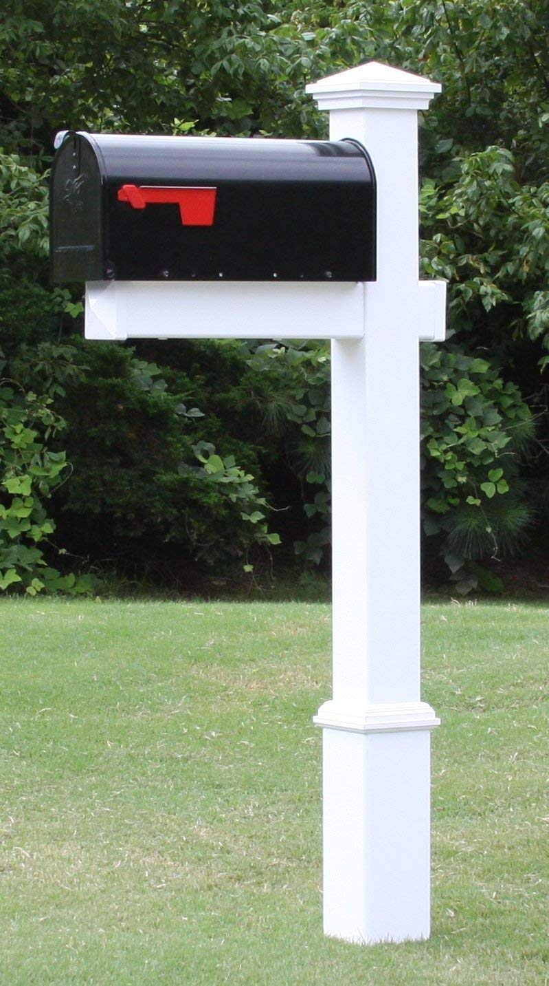 4EVER The Homestead Mailbox with Post Included, Black Metal Mailbox with White Vinyl Post Combo, Complete System by 4EVER