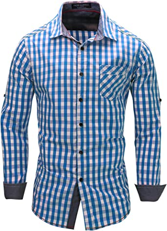 Kuson - Camisa de manga larga para hombre con bolsillo multicolor