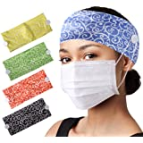 CGTL Women Button Headband for Sports Outdoor Hair Bands Stretchy Daily Use Yoga Hair 4 Pack Green Blue Red Black