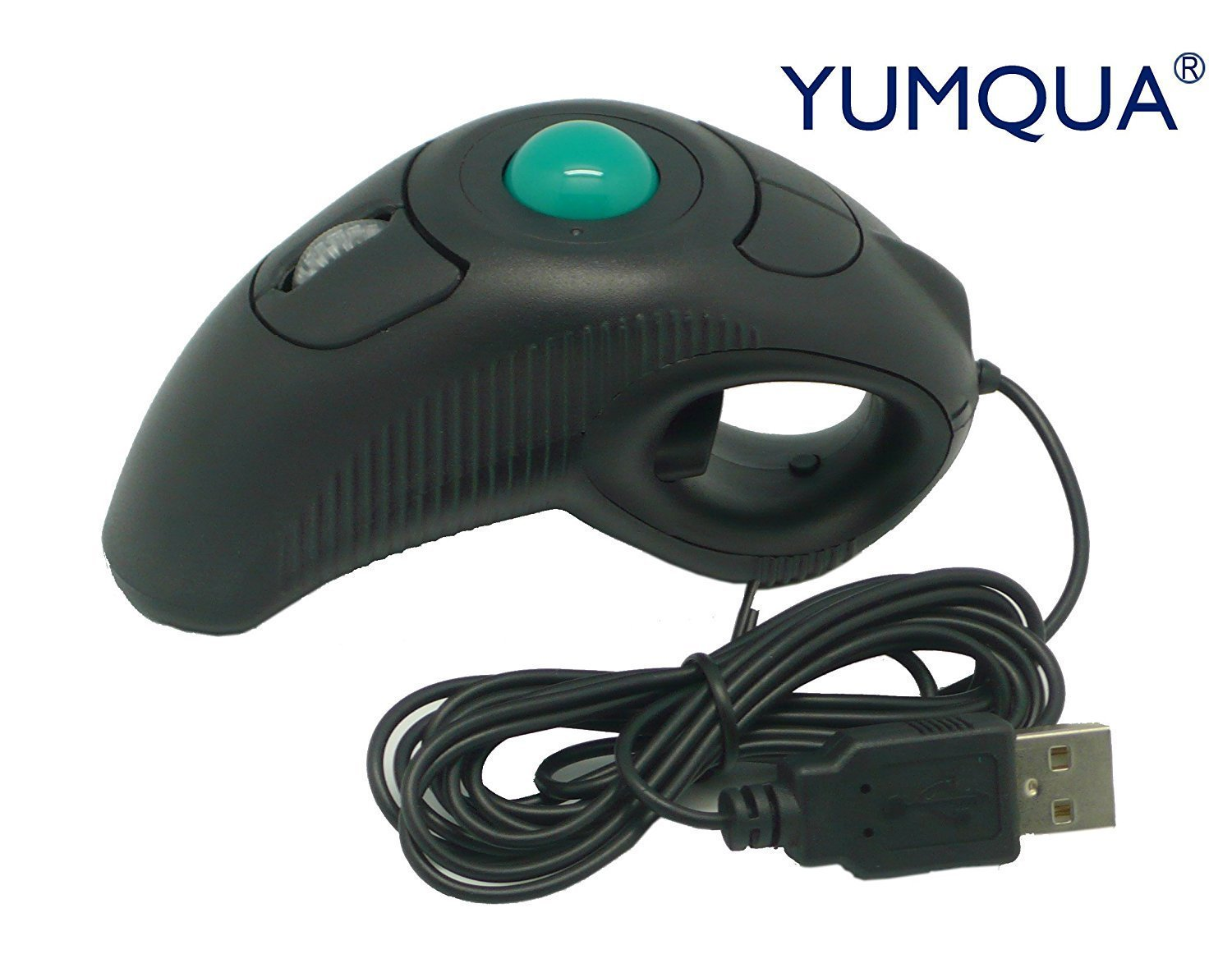 YUMQUA Y-10 Portable Finger Handheld 4D Wired USB Trackball Mouse for Left/ Right Handed Users(Black) Laptop Lovers Y-10-US
